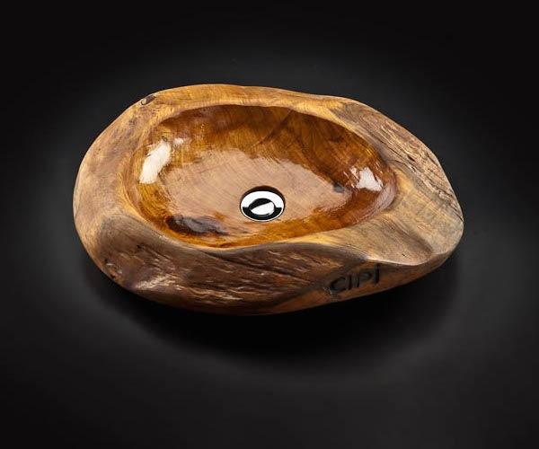 Lavabo lavandino d\'appoggio design in legno teak Cip arredo ...