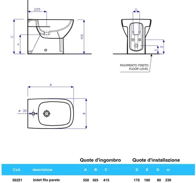 Sanitari bagno filo parete appoggio vaso sedile e bidet Fantasia 2 ...