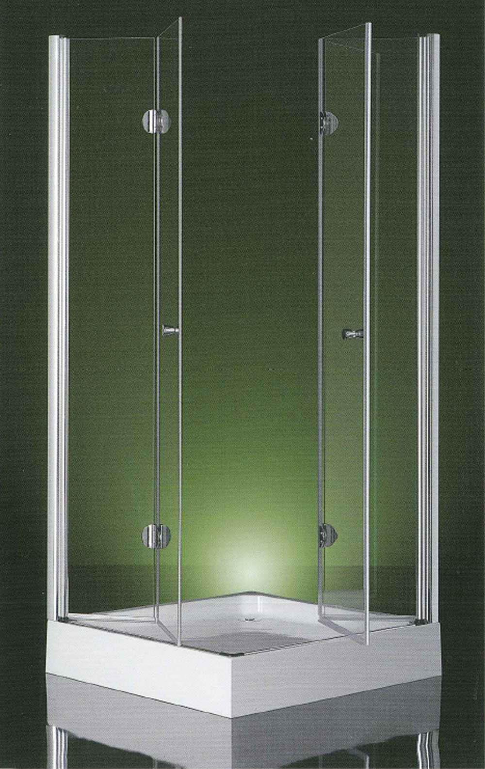 Box doccia apertura interna due ante a libro vetro 6mm for Arredo bagno con box doccia