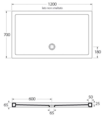 Piatto doccia in ceramica rettangolare 70x120 cm san marco - Dimensioni doccia standard ...
