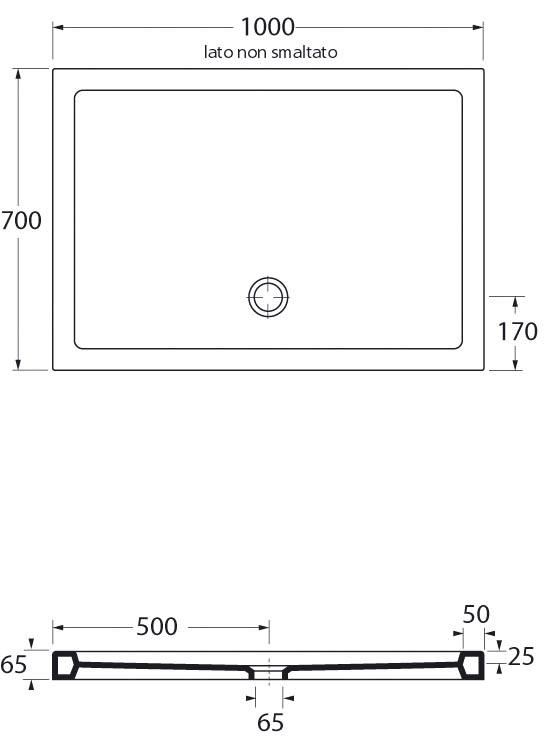 Piatto doccia in ceramica rettangolare 70x100 cm san marco - Dimensioni doccia standard ...