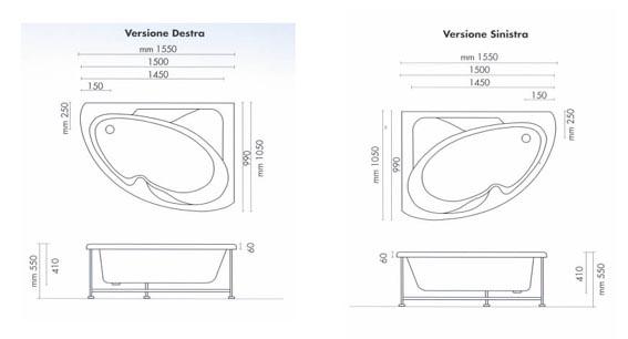 Vasca da bagno angolare 150x100x55 cm san marco - Vasca da bagno angolare misure ...