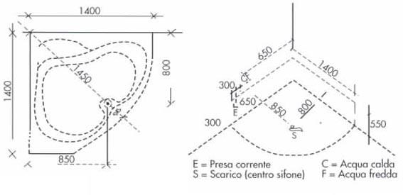 Vasca da bagno angolare 140x140x60 cm san marco for Dimensioni vasche da bagno angolari