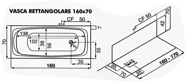 pannello frontale estraibile pannello laterale in dotazione colonna di scarico colore bianco fondo a rilievo per una migliore stabilita