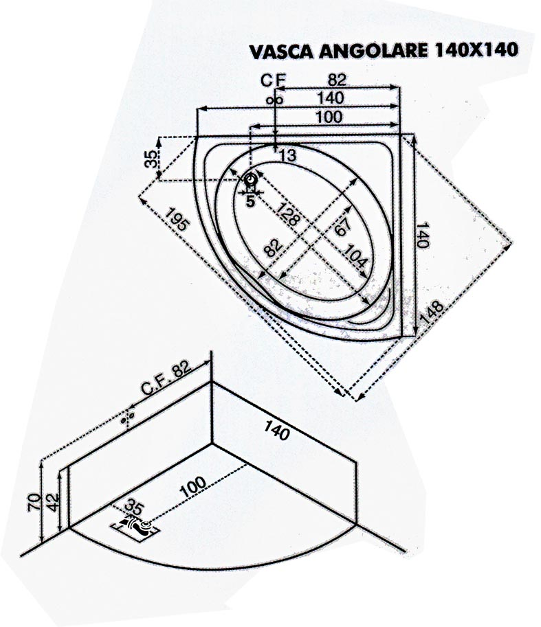 Vasca da bagno angolare con idromassaggio 140x140 cm san marco - Dimensioni vasca da bagno angolare ...