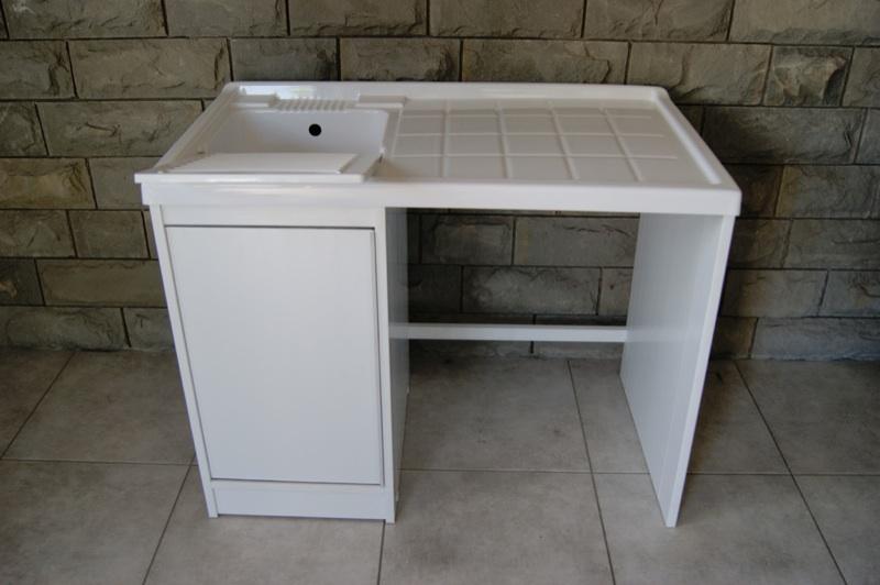 Mobile coprilavatrice con lavatoio da 108 cm in resina per for Coprilavatrice da esterno brico