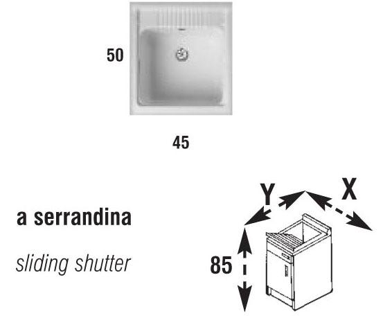 Mobile lavatoio lavapanni pilozza x lavanderia a serranda struttura in ...