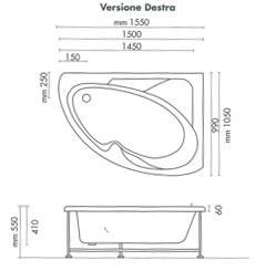 Vasca da bagno non idromassaggio ad angolo 150x100 cm asimmetrica reversibile ebay - Vasca da bagno dimensioni ...