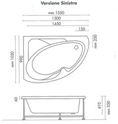 Vasca da bagno non idromassaggio ad angolo 150x100 cm asimmetrica reversibile...