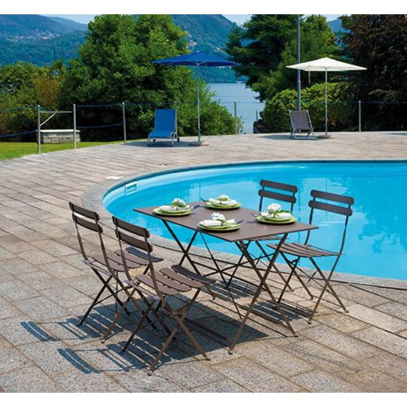 Sedia pieghevole giardino bistr ferro colorato san marco for Tavolo giardino colorato