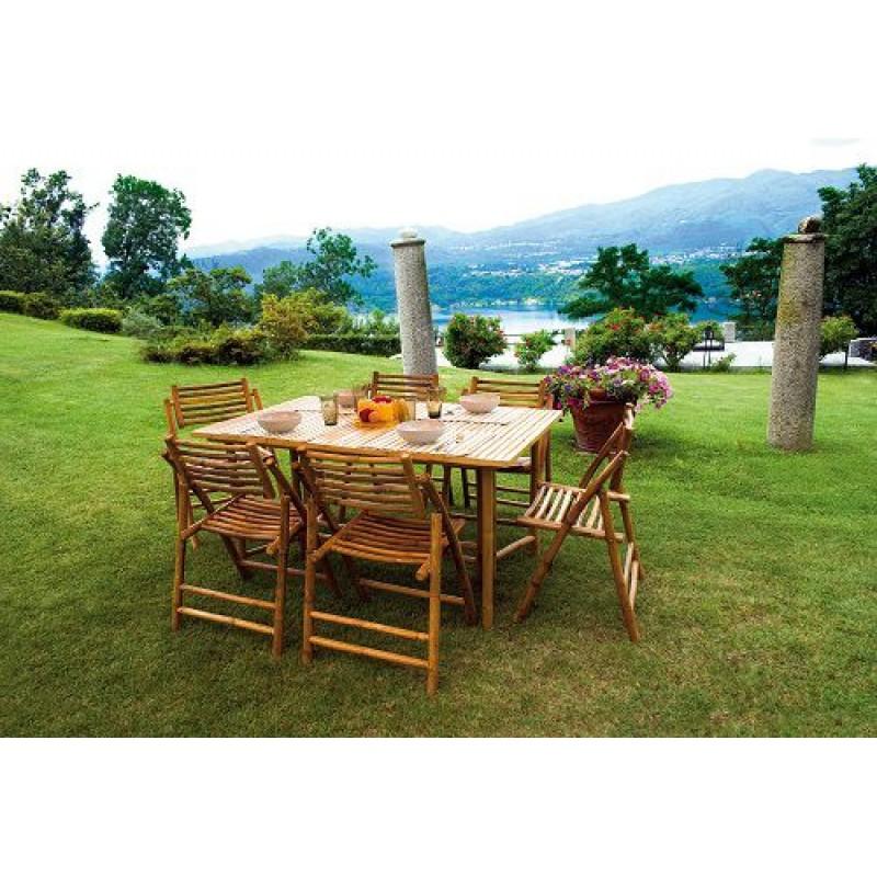 Tavolo da giardino in bamb rettangolare 150x90 cm san for Bambu giardino