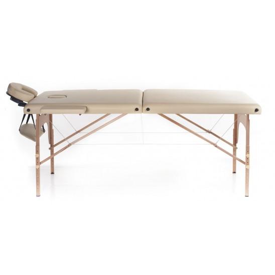 Lettino massaggio in legno 2 zone + portarotolo