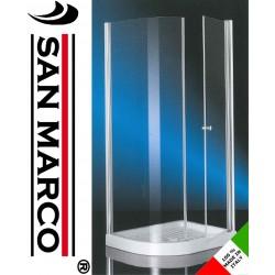 Box doccia 70x90 semicircolare con anta fissa e anta battente