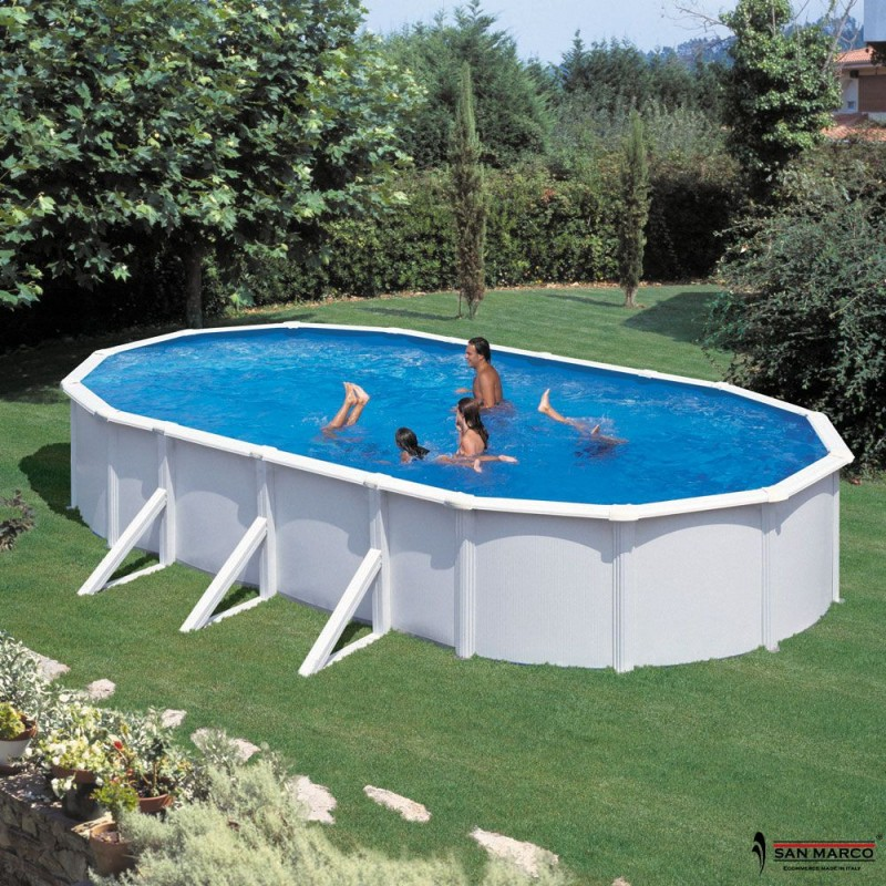 Piscina fuori terra gre atlantis 730x375x132 cm san marco for Piscine hors sol non imposable