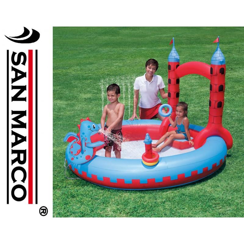 Eccezionale Castello gonfiabile per bambini con drago e giochi d'acqua | San Marco LY59