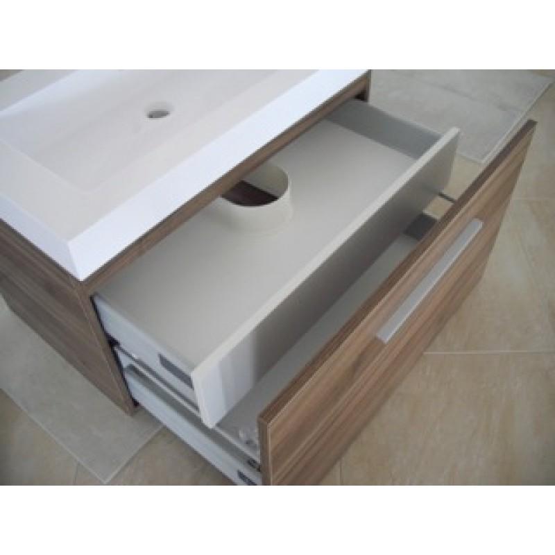 mobile bagno sospeso urban da 80 cm con 2 cassettoni chiusura ammortizzata