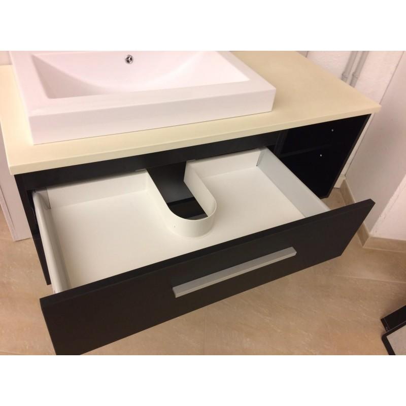 Mobile bagno sospeso 120 cm con 2 cassettoni a chiusura ammortizzata