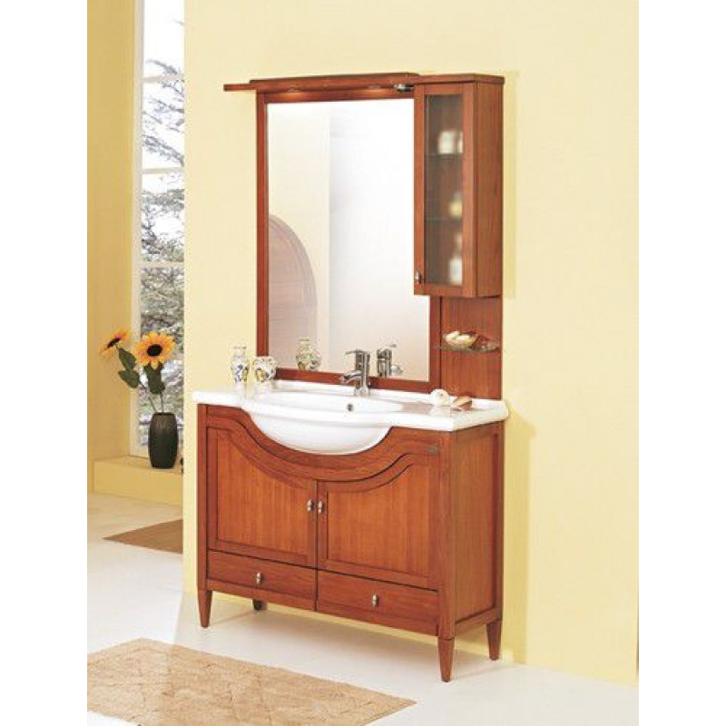 Mobile bagno con lavabo 150x50 cm finto ciliegio san marco - Bagno finto legno ...