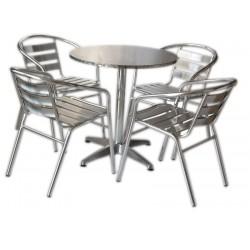 Tavoli Impilabili Per Esterno.Set Tavolo Bar 4 Sedie In Alluminio Impilabili San Marco