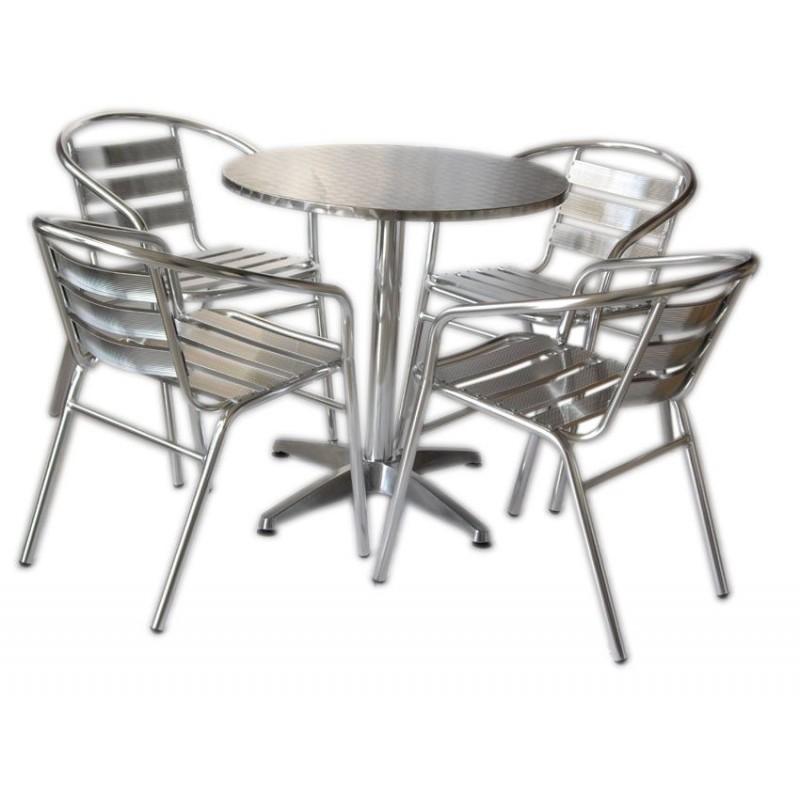 Sedie Economiche Per Bar.Set Tavolo Bar 4 Sedie In Alluminio Impilabili San Marco