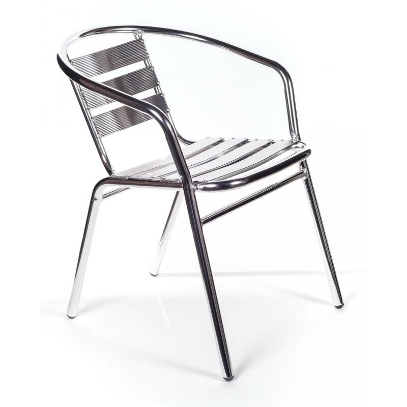 Set tavolo bar 4 sedie in alluminio impilabili san marco for Sedie bar economiche
