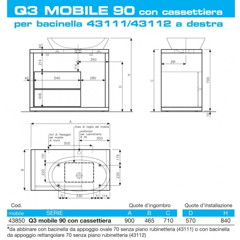 Mobile bagno lavabo pozzi ginori q3 90 cm san marco - Richard ginori sanitari bagno ...