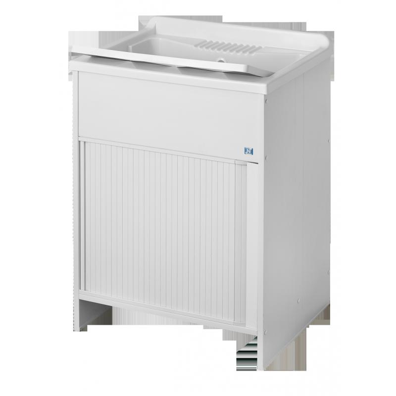 Mobile lavatoio in resina e pvc con struttura a serranda for Coprilavatrice da esterno brico
