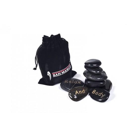 Hot stone kit - 9 pietre basaltiche per massaggio
