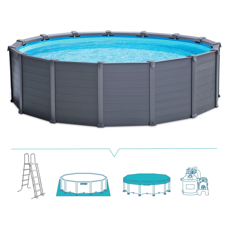 Piscina fuori terra intex sequoia spirit 478x124 san marco for Piscina intex rotonda