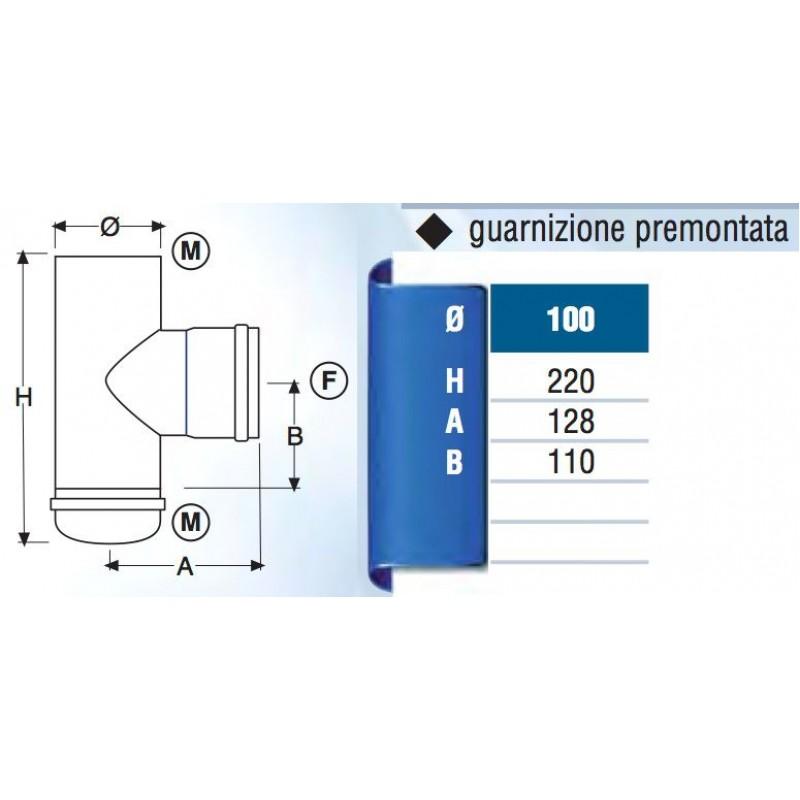 Raccordo a t in acciaio diametro 100 mm san marco for Raccordo in acciaio verticale