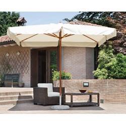Ombrellone da giardino quadrato 3x3 mt palo centrale in legno, serie delux