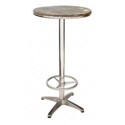 Tavolo bar alto alluminio e quercia