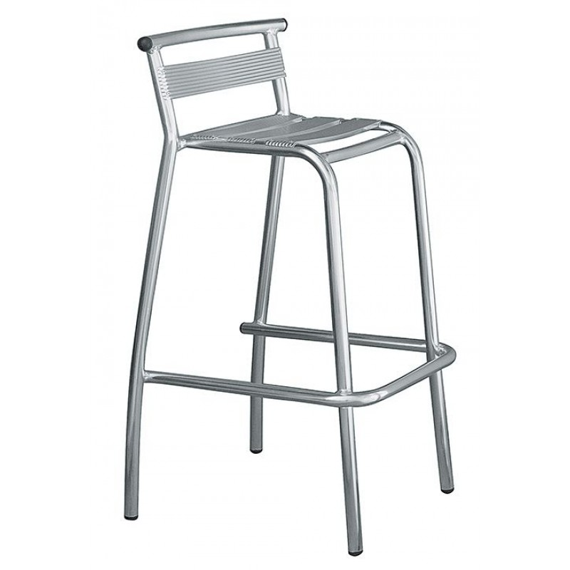 sgabello bar in alluminio con schienale san marco