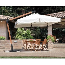 Ombrellone da giardino rettangolare 3x4 mt decentrato in legno, serie delux