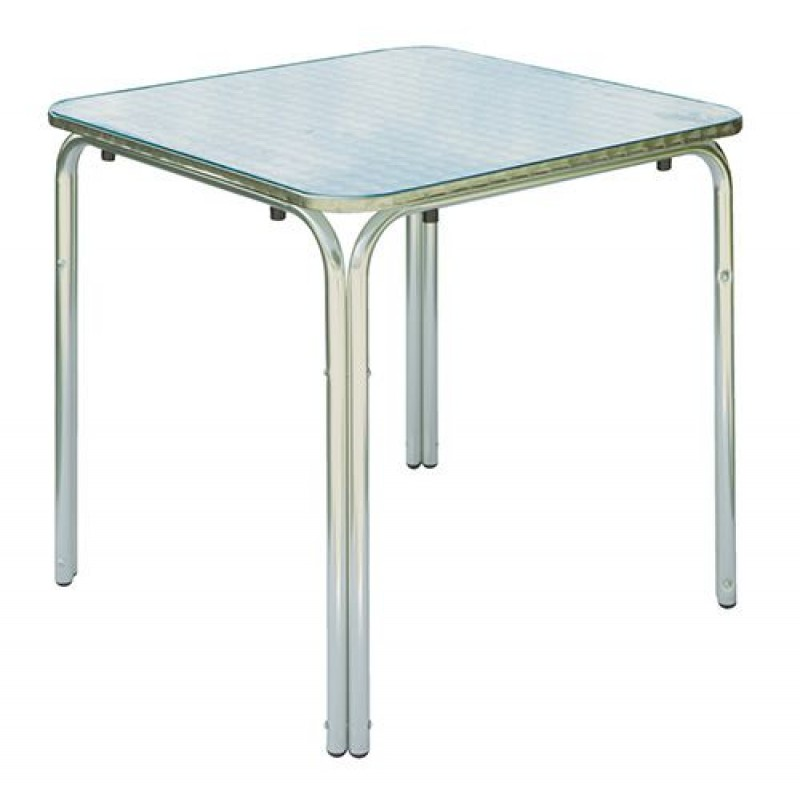 Tavolo bar quadrato alluminio e acciaio san marco for Tavolo in alluminio
