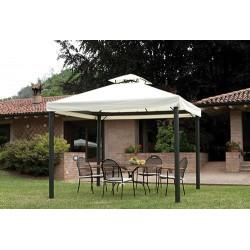 Gazebo da giardino quadrato 3x3 mt in alluminio, con set di tende laterali