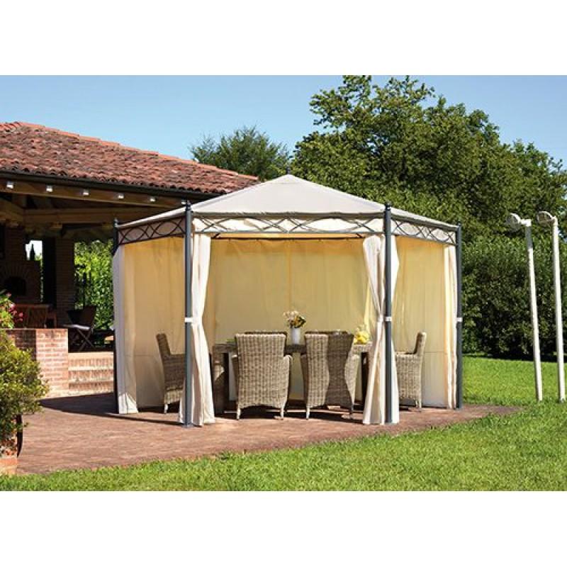 Foto Giardini Con Gazebo.Gazebo Da Giardino Esagonale 4mt In Ferro Epoxy Con Tende Laterali