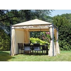Gazebo da giardino quadrato 3x3 mt in ferro design, con tende laterali