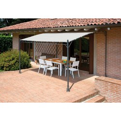 Pergola a parete 4x3 mt in ferro epoxy antracite, telo color sabbia
