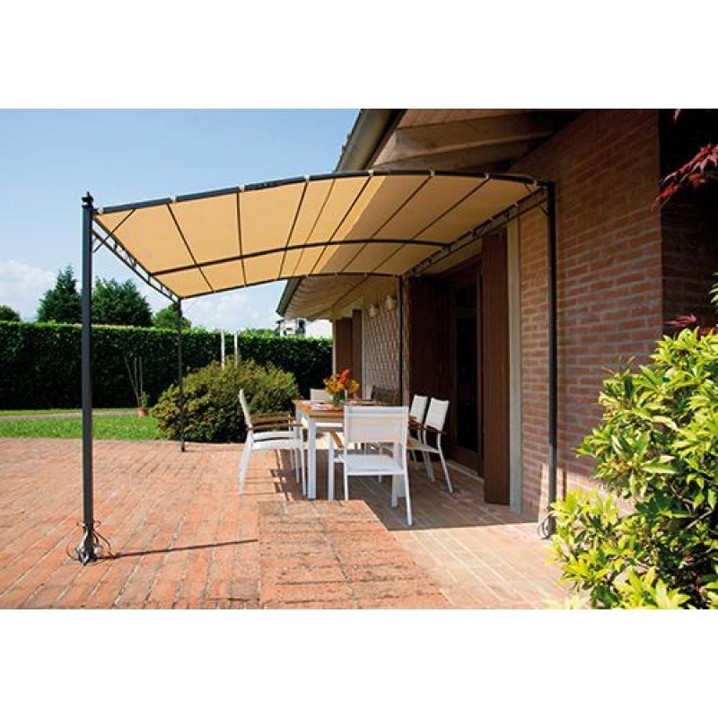 Pergola a parete 4x3 mt in ferro epoxy antracite san marco - Pergola da giardino ...