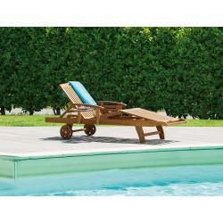 Lettino da giardino in legno d'acacia Marbella, con cuscino abbinabile