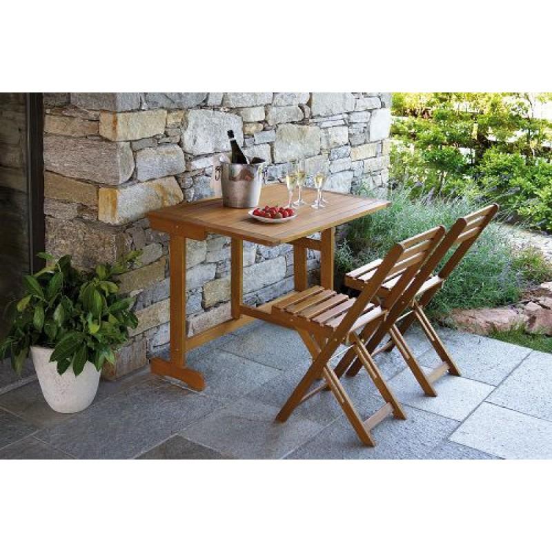 Set balcone in legno tavolo 2 sedie chiudibili san marco for Staffe pieghevoli