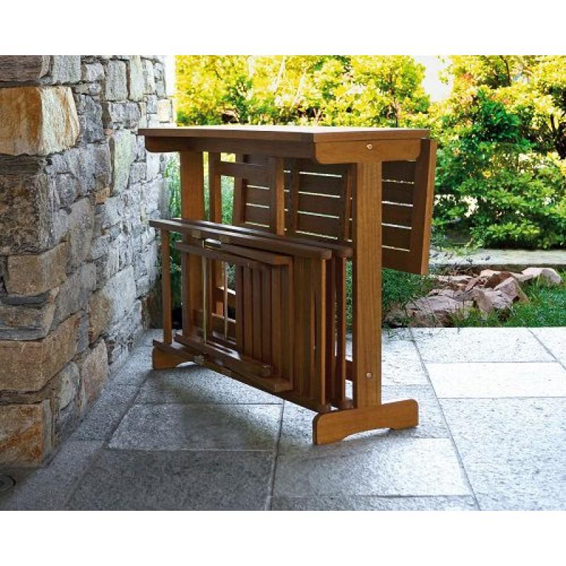 Set balcone in legno tavolo 2 sedie chiudibili san marco - Tavolo richiudibile in legno ...