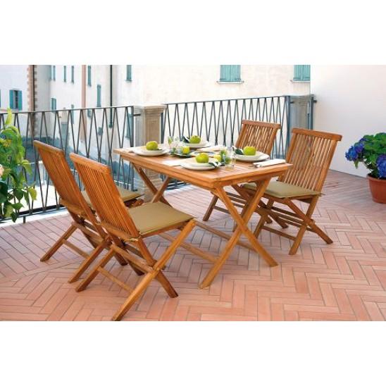 Tavolo pieghevole in legno teak Lipari - rettangolare 120x70 cm