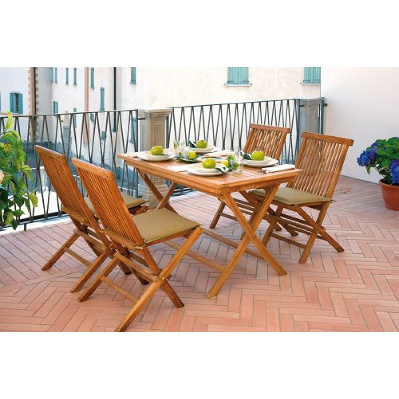 Tavolo pieghevole in legno teak lipari 120x70 cm san marco for Tavolo in legno pieghevole