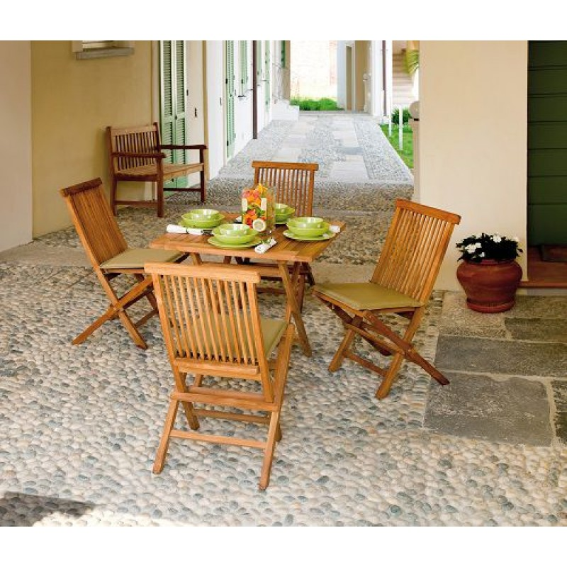 Tavolo pieghevole in legno teak Vulcano 80x80 cm | San Marco