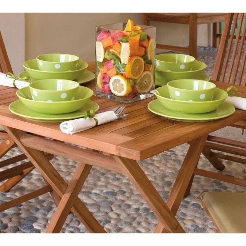 Tavolo pieghevole in legno teak vulcano 80x80 cm san marco for Tavolo legno teak