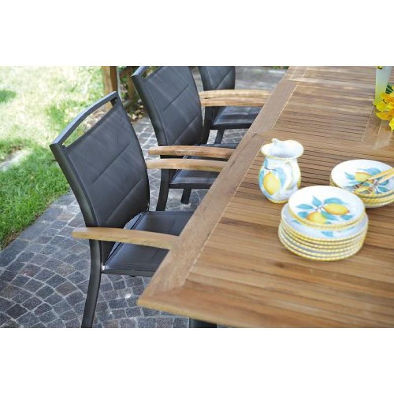 Tavolo giardino in teak e alluminio nero Vigo | San Marco