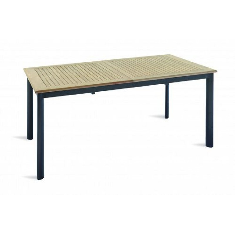 Tavolo Esterno Allungabile.Tavolo Da Giardino In Teak E Alluminio Nero Allungabile Vigo 150 210x90 Cm