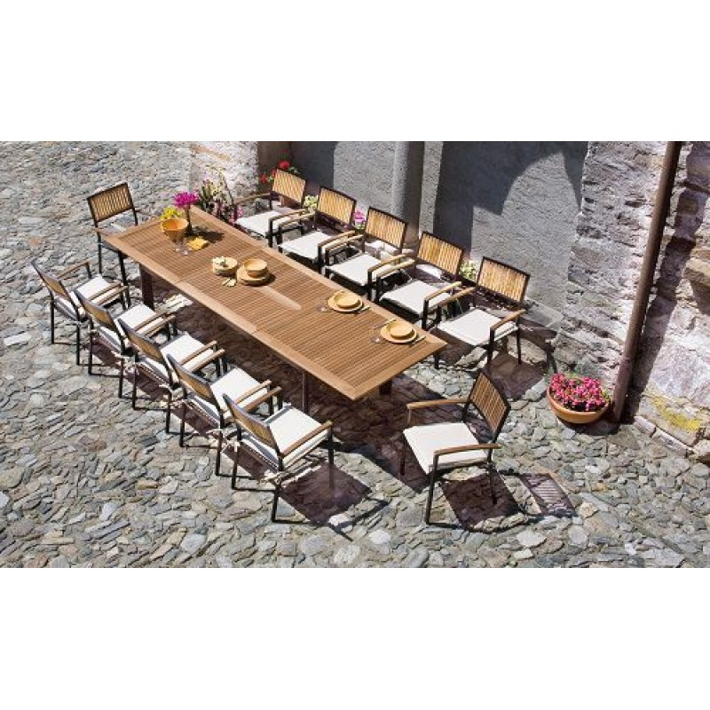 Tavolo Da Esterno Legno Allungabile.Tavolo Giardino In Teak E Alluminio Nero Alicante San Marco